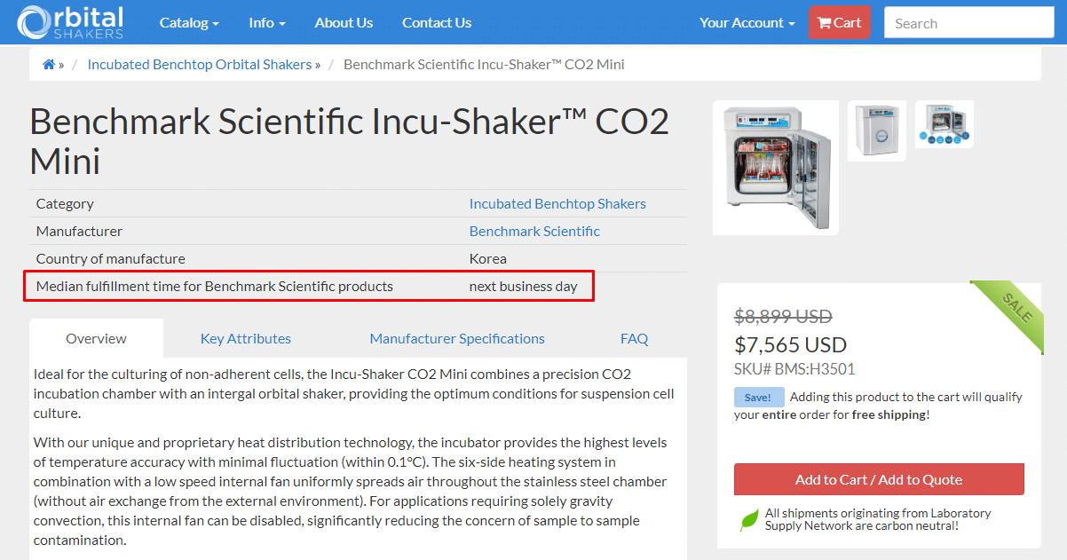The Incu-Shaker CO2 Mini page.