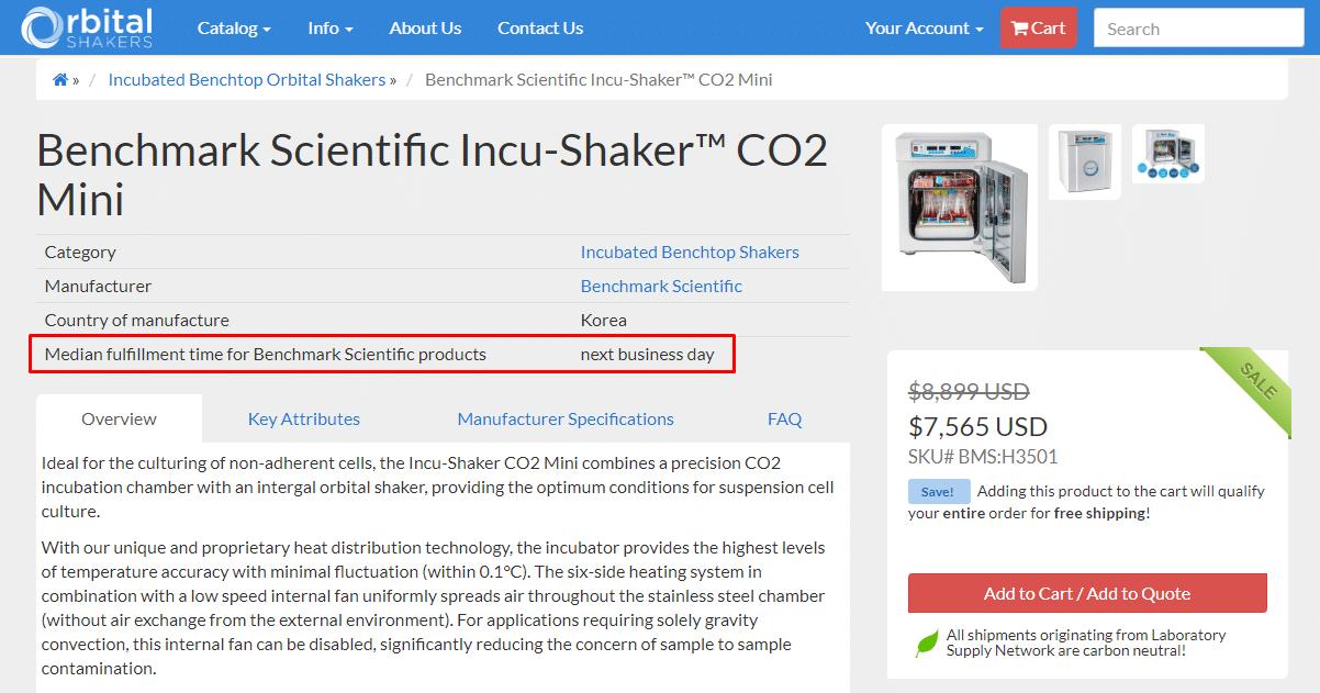 The Incu-Shaker CO2 Mini page.